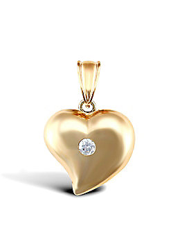 9ct Yellow Gold Heart Charm With An Inset CZ