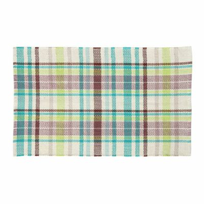 Homescapes Wilson Handwoven Blue, Yellow and Brown Tartan 100% Cotton Rug, 66 x 200 cm