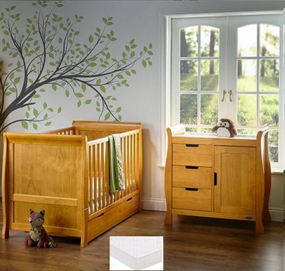 Obaby Stamford 2 Piece + Sprung Mattress Nursery Room Set - Country Pine