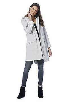 F&F Rubberised Shower Resistant Hooded Raincoat - Light grey