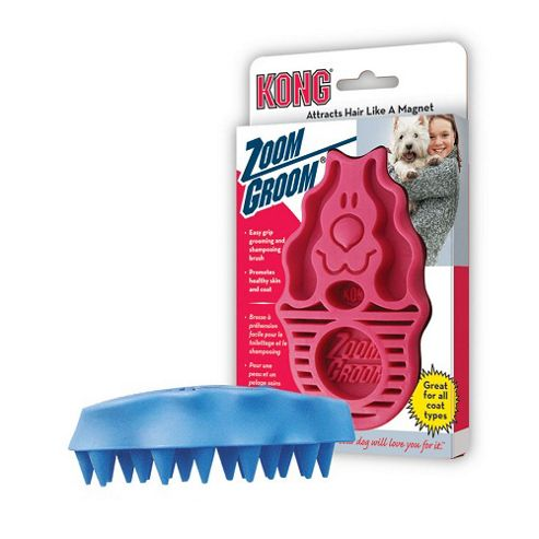 Kong Zoom Groom Dog Brush - Soft Bristle (Pink)