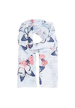 F&F Butterfly Print Scarf - Blue