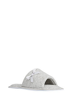 F&F Diamond Quilted Open Toe Mule Slippers - Grey