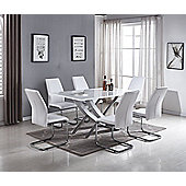 Mayfair Large White High Gloss And Stainless Steel Dining Table And 6 White Lorenzo Dining Chairs