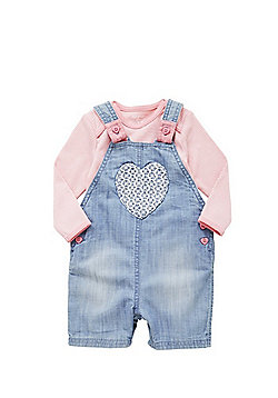 F&F Chambray Dungarees and Long Sleeve Bodysuit Set - Blue & Pink