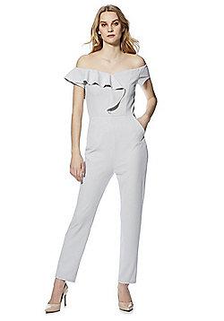 AX Paris Asymmetric Ruffle Bardot Jumpsuit - Grey