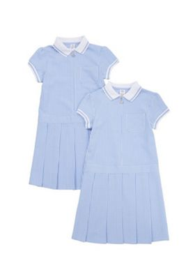 F&F School 2 Pack of Plus Fit Permanent Pleat Gingham Dresses Blue/White 4-5 years