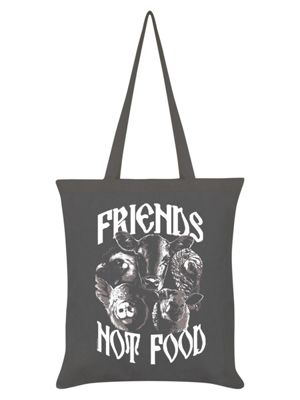 Friends Not Food Vegetarian Tote Bag 38 x 42cm, Graphite Grey