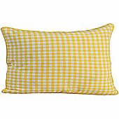 Homescapes Cotton Gingham Check Yellow Scatter Cushion, 30 x 50 cm