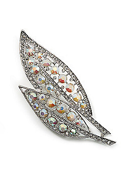 Large Diamante 'Leaf' Pin/Pendant (Silver Tone)