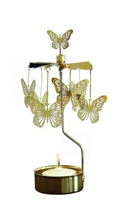 Pluto Produkter Rotary Candle Holder Gold Butterfly AN186