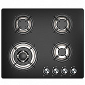 Cookology GGH609BK | 60cm 4 Burner Gas-on-Glass Hob in Black & Wok Burner