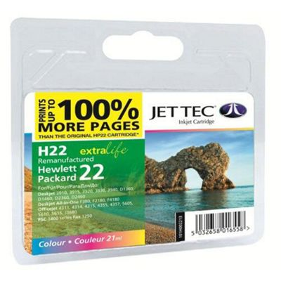 HP22 C9352AE Colour Remanufactured Ink Cartridge by JetTec - H22