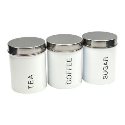 Harbour Housewares Metal Tea, Coffee, Sugar Set - White