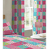 Pink Floral Patchwork Eyelet Curtains 72s