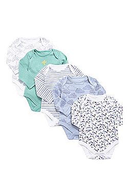 F&F 5 Pack of Geometric and Cloud Print Bodysuits - Green