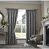 Curtina Palmero Scroll Silver Thermal Backed Curtains 90x72 Inches (229x183cm)
