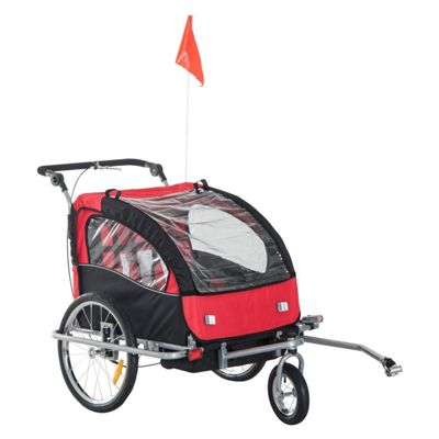 Homcom 2 in 1 Multifunctional Bicycle Child Carrier Baby Trailer Kit Steel Frame (Black and Red)