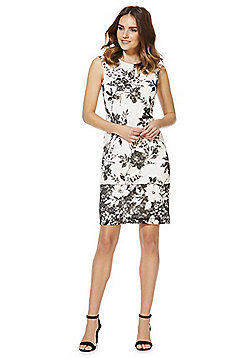 Roman Originals Floral Print Lace Sleeveless Dress - White & Black