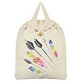 Tribal Feathers Cream Festival Backpack 35x41cm