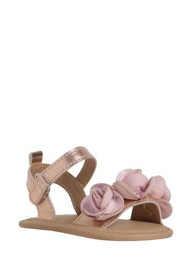 F&F 3D Flower Sandals Rose Gold 12-18 months