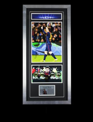 Lionel Messi Signed FC Barcelona Framed Football Photo 4 - Photo Proof & COA
