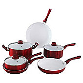 Ceramic Red 6 Piece Saucepan Set
