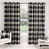 Hamilton McBride Check Lined Eyelet Curtains - Black