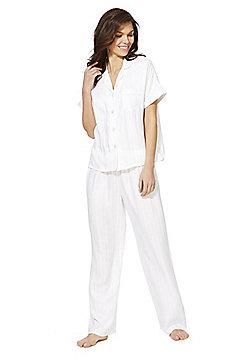 F&F Striped Revere Collar Pyjamas - White