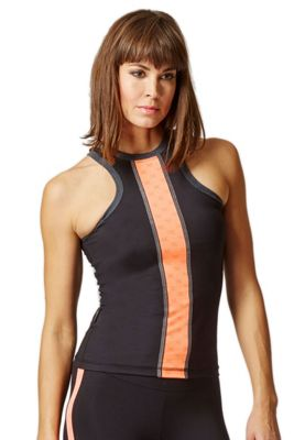 Reversible High Neck Running Vest with Reflective Panel Black-Coral S