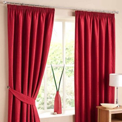 Homescapes Red Lined Curtain Pair Swirl Design 46x72