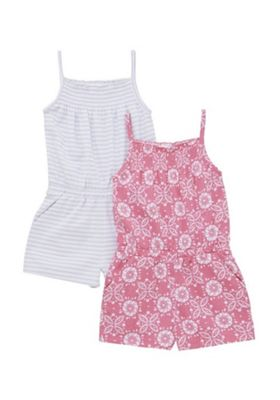 F&F 2 Pack of Striped and Tie-Dye Playsuits Pink/Grey 12-18 months