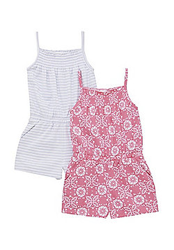 F&F 2 Pack of Striped and Tie-Dye Playsuits - Pink/Grey