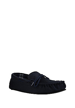 F&F Faux Suede Moccasin Slippers - Navy