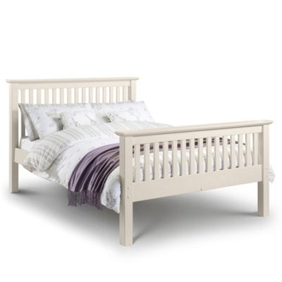 Happy Beds Barcelona Wood High Foot End Bed with Open Coil Spring Mattress - White - 3ft Single