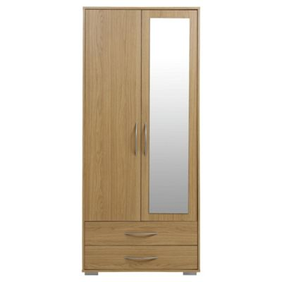 Newport Double 2 Drawer Wardrobe With Mirror Oak