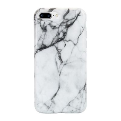 iPhone 8 Plus Marble Stone Effect High Shine Protective Case - White / Grey