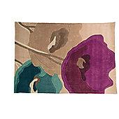 Infinite Mod Art Poppy Flowers Oblong Teal/Purple Rug - 160X230 cm
