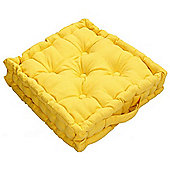 Homescapes Cotton Yellow Floor Cushion, 50 x 50 cm