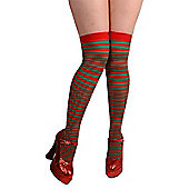 Wicked Over The Knee Red & Green Ladies Thigh High Striped Socks