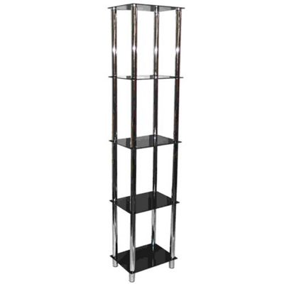 Techstyle Metal and Glass 5 Tier Shelving Unit / Bookcase