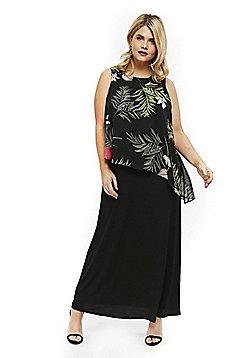 Evans Floral Print Overlay Plus Size Maxi Dress - Multi