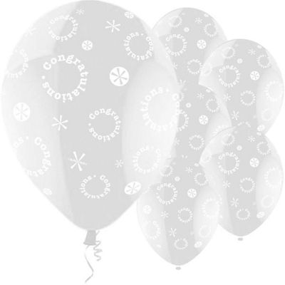 Congratulations Clear 11 inch Latex Balloons - 25 Pack