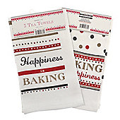 Country Club Velour Tea Towels, Happy Baking, Set of 3