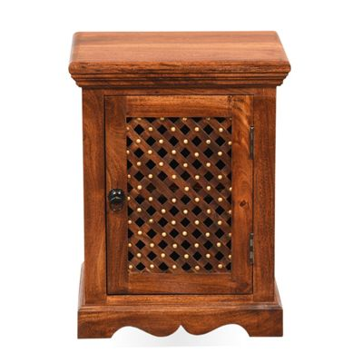Homescapes Takhat Bedside Cabinet Dark Shade Solid Wood with Jali Style Door