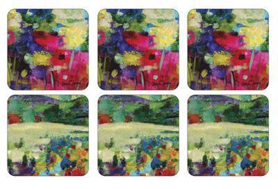 Pimpernel Impressionist Flowers Coasters, Purple, Set of 6