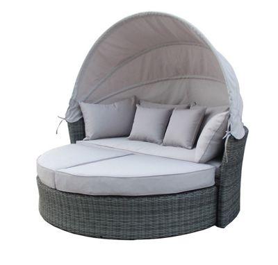 Bentley Garden Premium Grey Rattan Day Bed With Canopy