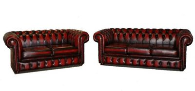 Chesterfield 3+2 Leather Sofa antique oxblood