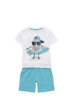 F&F Thumb Print Surfer Pyjamas - White & Blue