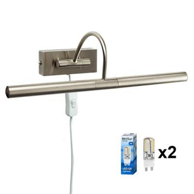 Modern Capri Plug LED Twin Picture Wall Light, Brushed Chrome